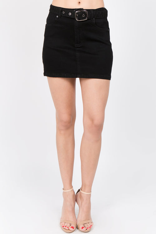 Belted Denim High Rise Mini Skirt  l  LoveModa