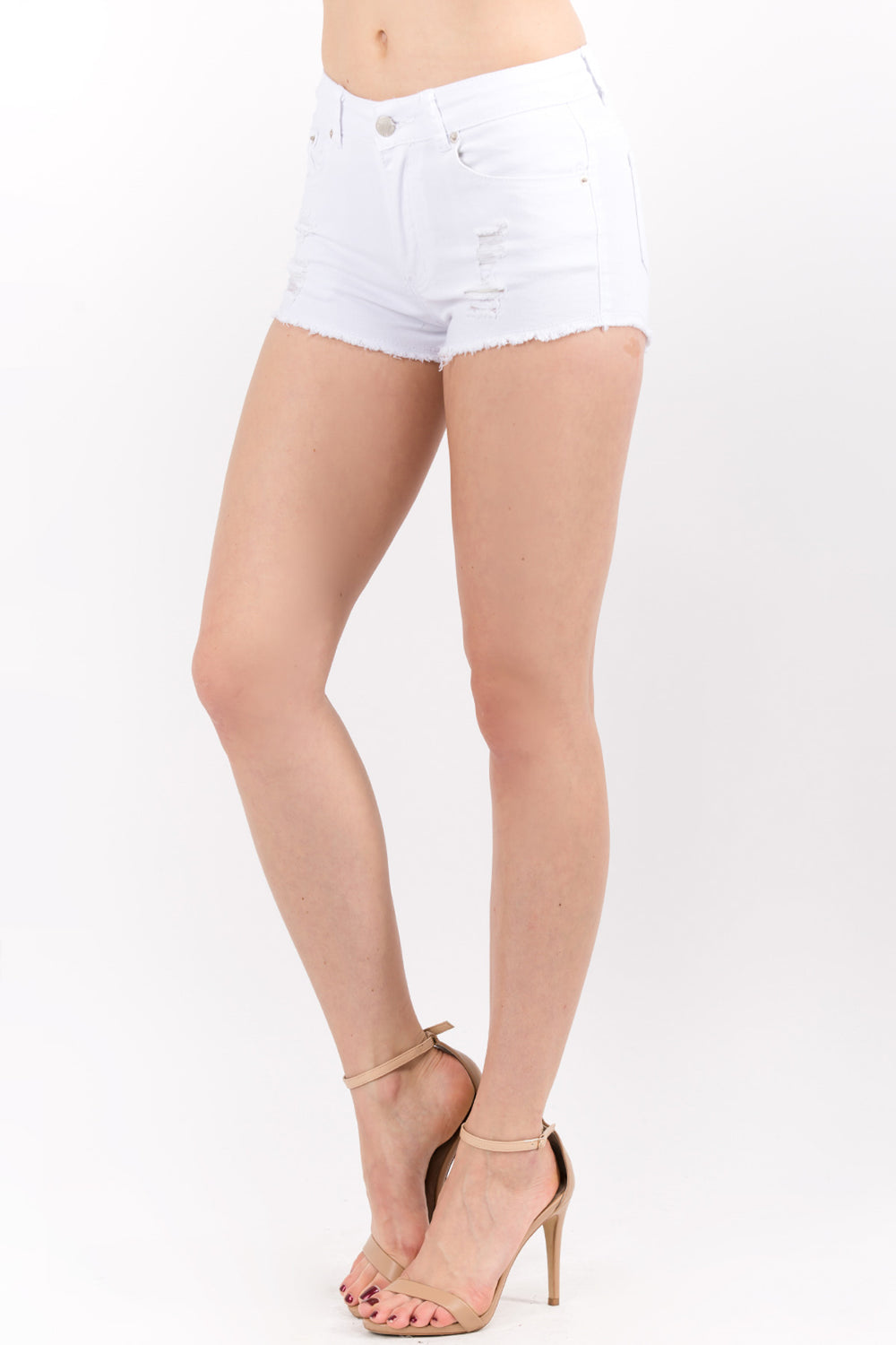 Distressed Twill Mini Shorts