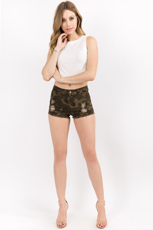Destroyed Twill Shorts with Comfort Stretch  l  LoveModa