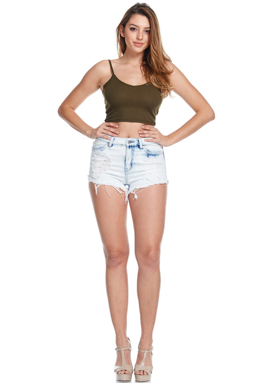 Acid Washed Destroyed Shorts - Ice Blue  l  LoveModa