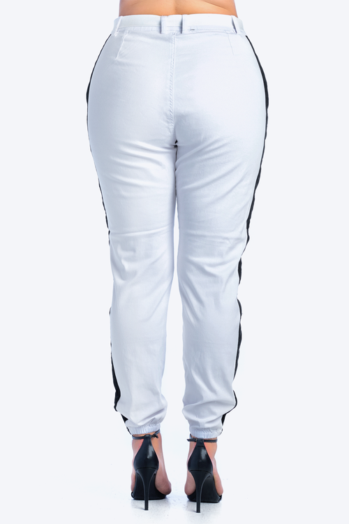 Plus Size Side Stripe High Rise Twill Jogger With Belt
