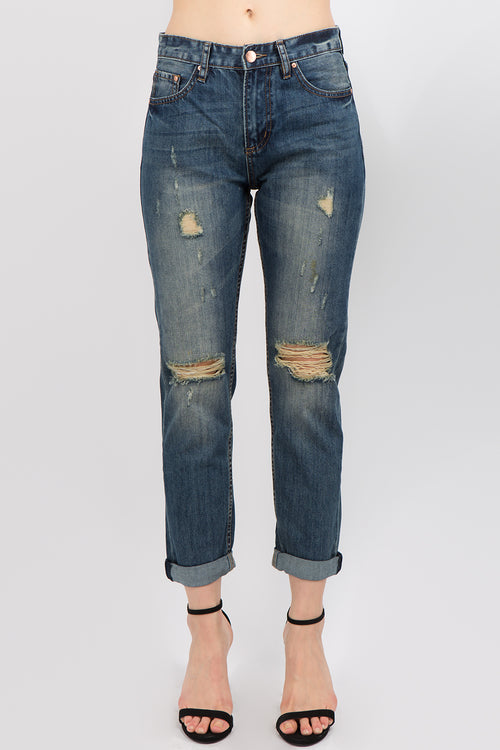 Women's Boyfriend Fit Destroyed Jeans  l  LoveModa