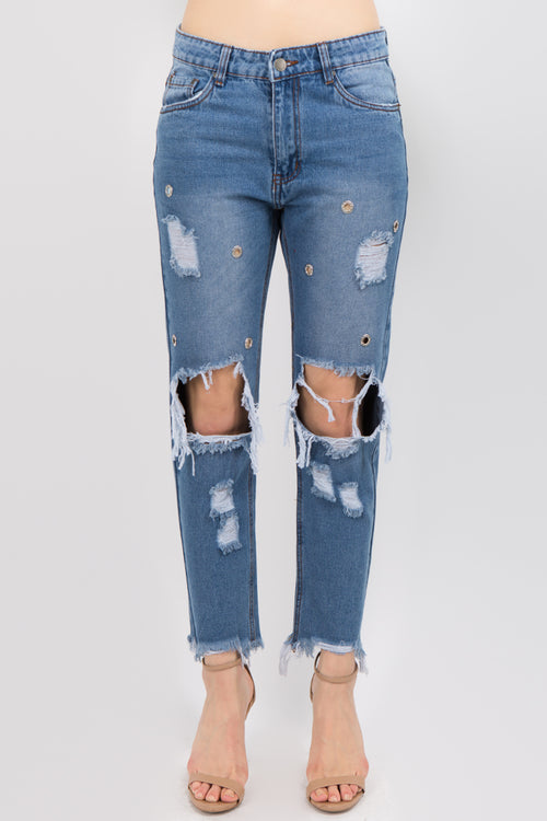 100% Cotton Washed Distressed Boyfriend Studded Jeans  l  LoveModa