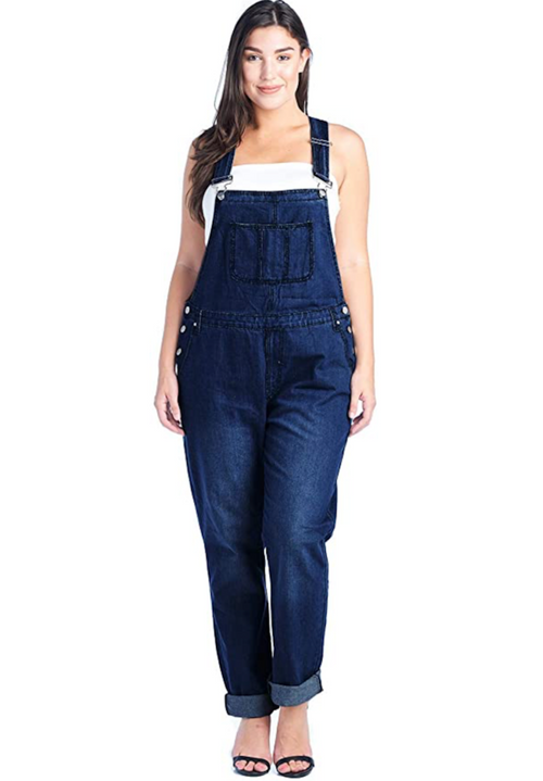 Plus Size Front Coin Pocket Basic Denim Overalls