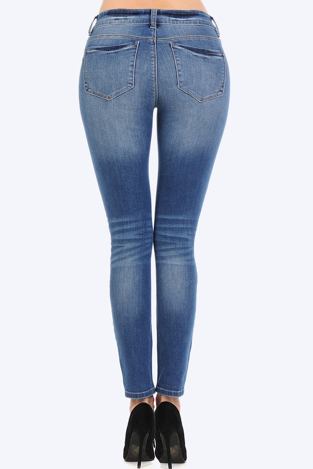 Mid Rise Distressed Denim Stretch Skinny Jeans