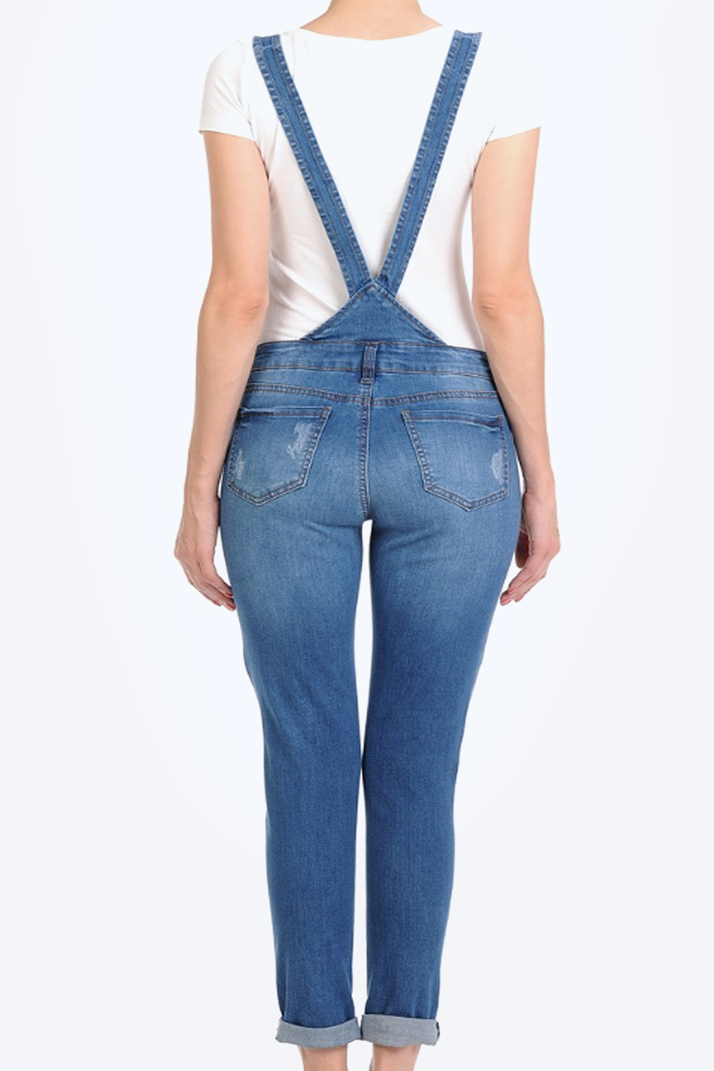 Ditsressed Stretch Twill Overalls