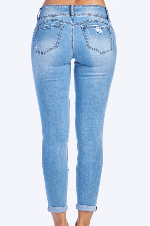 Mid Rise Butt Lifting Distressed Denim Skinny Jeans
