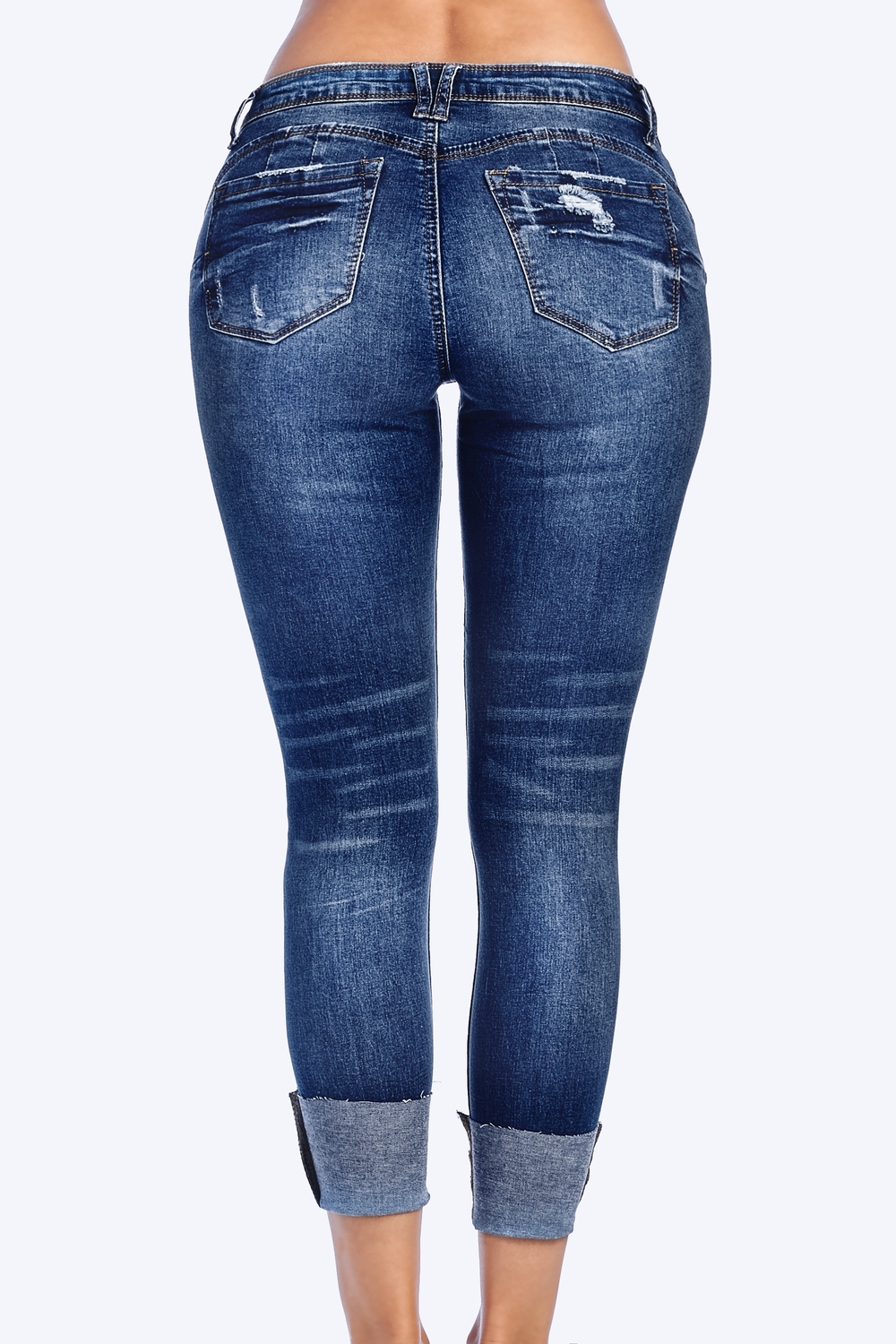 Distressed Butt Lifting Skinny Jeans with Comfort Stretch