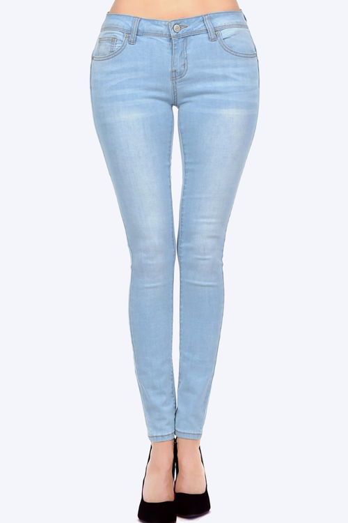 Mid Rise Butt Lifting Denim Skinny Jeans with Comfort Stretch