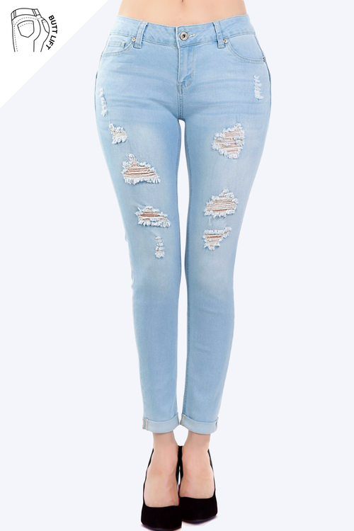 Mid Rise Butt Lifting Skinny Jeans with Comfort Stretch