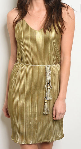 Le Lis Gold Pleated Dress with Thin Straps and Tassel String Tie Waist