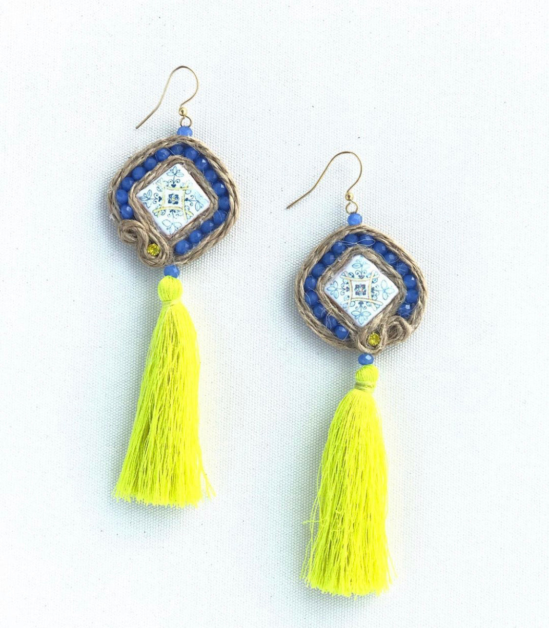 Seekelia Yellow Tassel Medallion Earrings