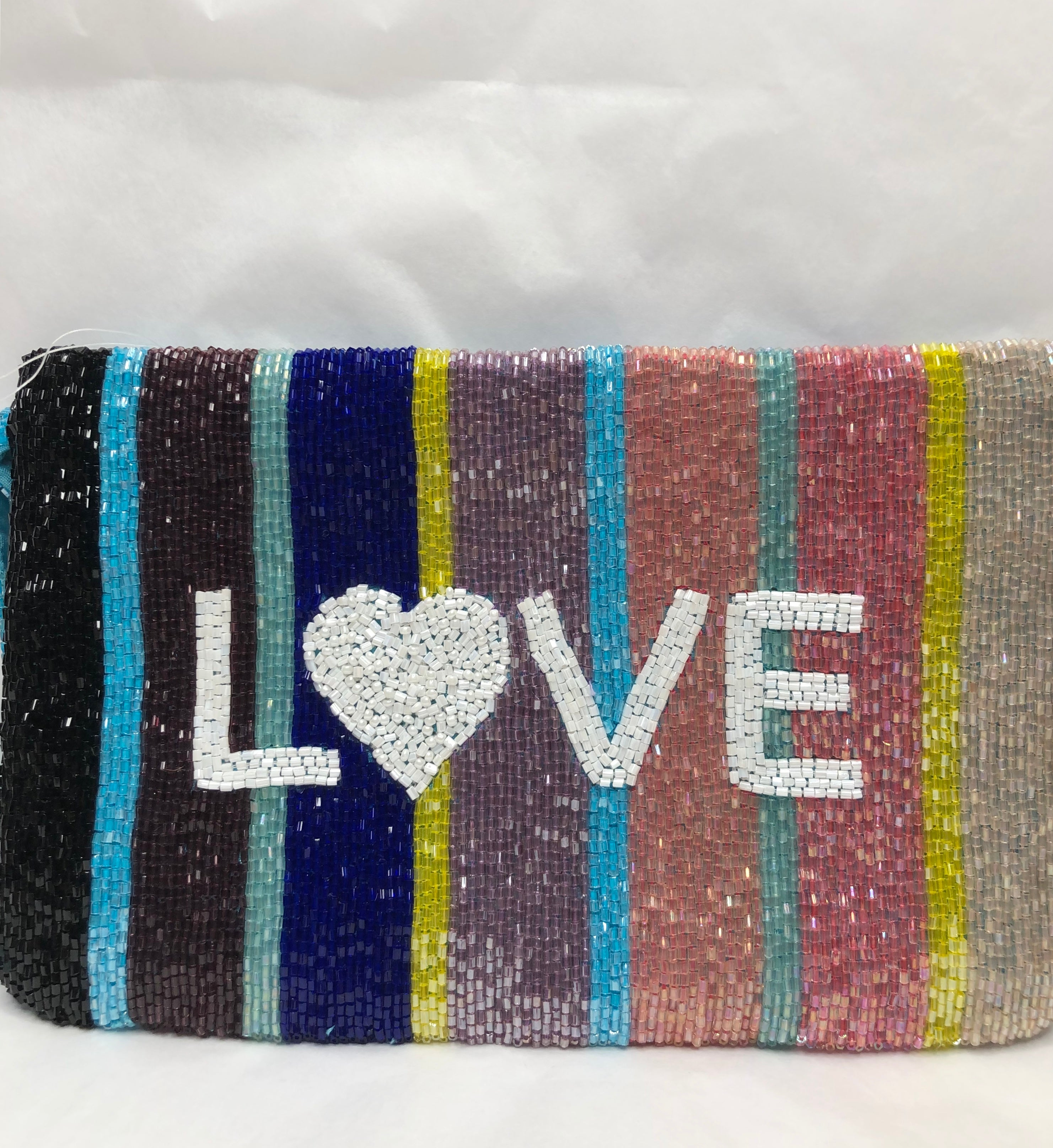 Beaded Love Clutch With Wristband