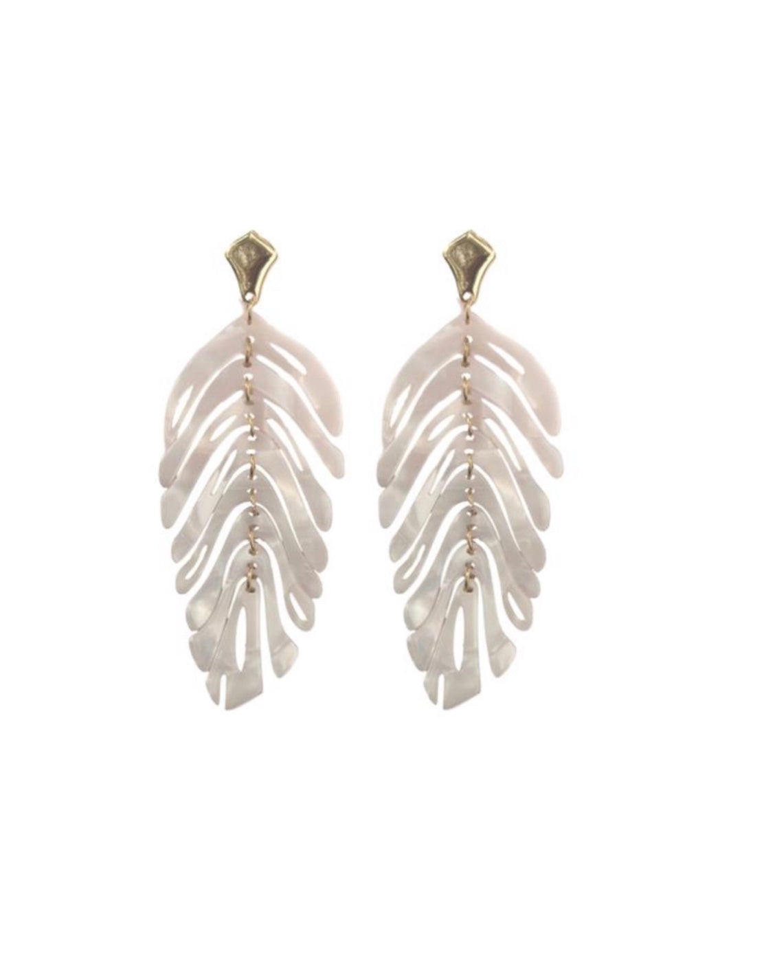 St. Armands White Monstera Palm Earrings