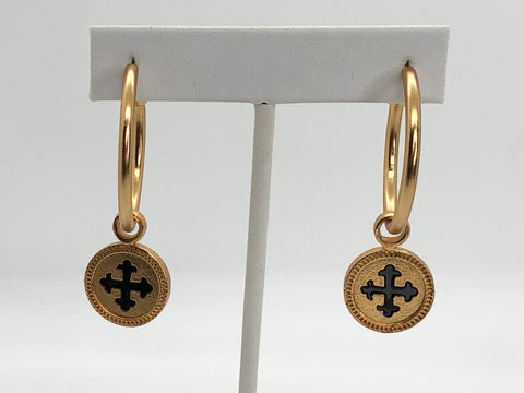 "24K Gold Plated Brass ""Believe"" Medium Hoop Earrings"