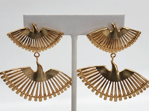 24K Gold Plated Brass Phoenix Earrings