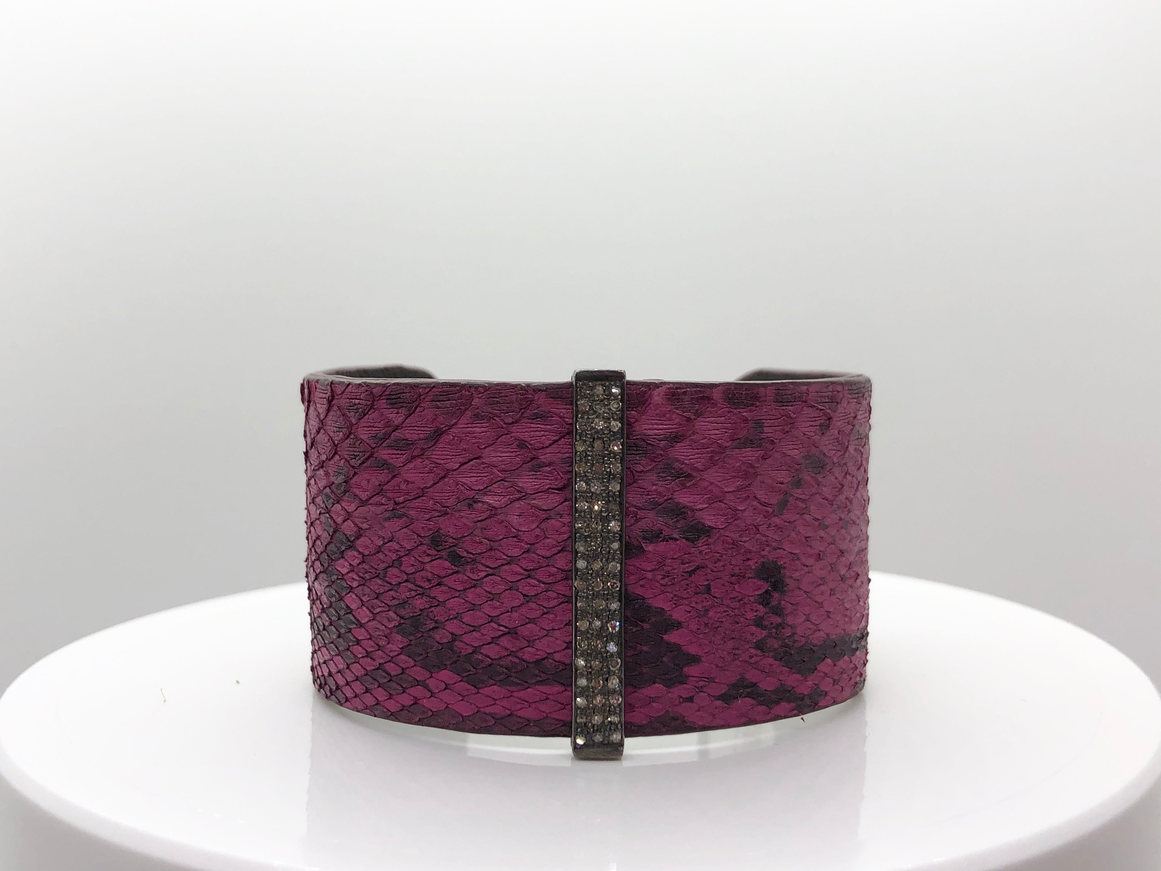 S Carter Purple Snakeskin Cuff