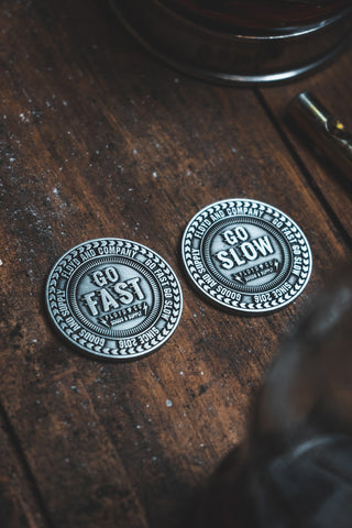 Go Fast / Go Slow double sided decision coin