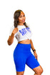 "Sweat Pretty"" Workout Graphic Tee - Royal Blue on White"