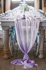 "27"" x 120"" Lavender Sheer Chiffon Table Runner"