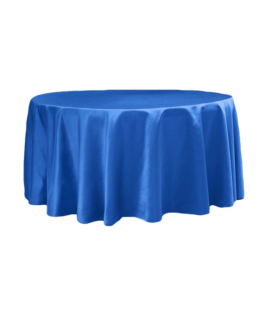 "120"" Satin Royal Blue Table Drapes"