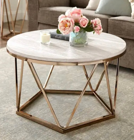 Faux Stone Geometric Coffee Table