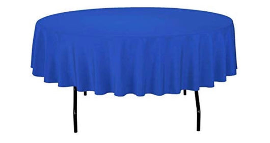 "90"" Royal Blue Round Polyester Table Drape"