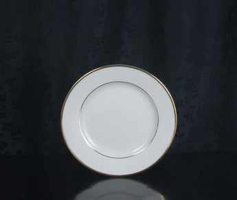 "8 1/4"" Salad/Dessert Plate - Classic Ivory Rim - Double Gold Bands"