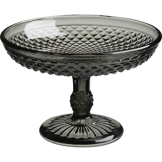 Addy Smoke Glass Dessert Pedestal Bowl