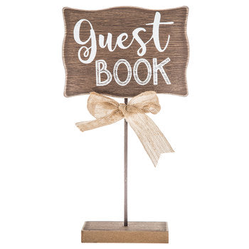 "Wood Burlap ""Guest Book"" Sign"