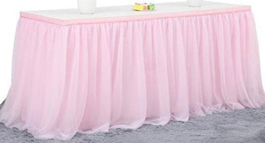 9' Pink Tulle Table Skirt