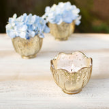 Blossom Gold Mercury Glass Tea Light Holder