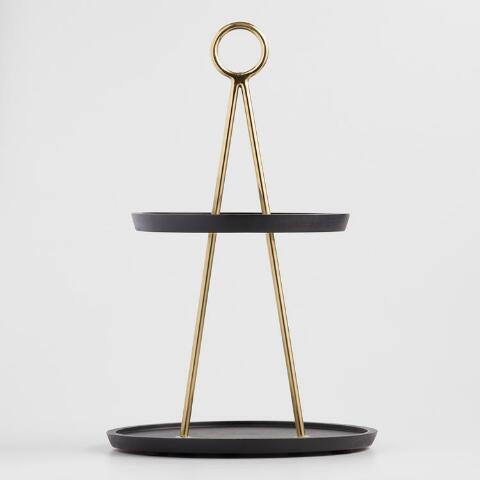 Black Mango Wood & Brass 2 Tier Serving Platter