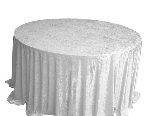 "120"" White Crushed Velvet Table Drape"