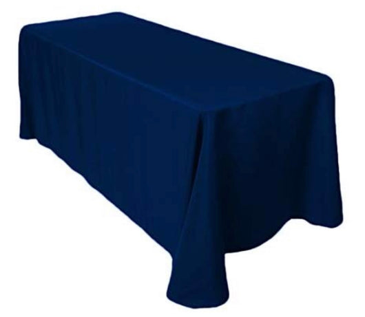 "90"" x 156"" Navy Blue Poly Table Drape"