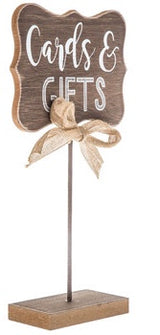 "Wood Burlap ""Cards & Gifts"" Sign"