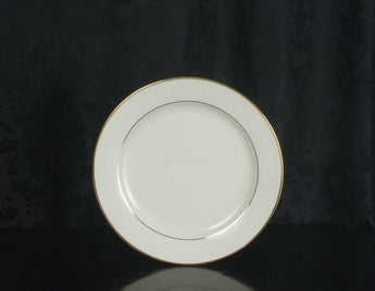 "9 1/8"" - Classic Ivory Rim - Double Gold Bands Dinner Plate"
