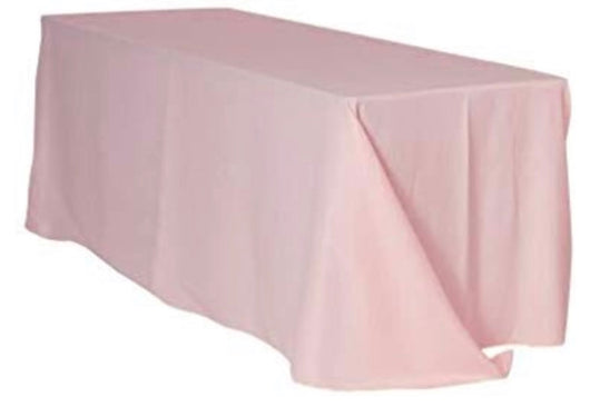 "90""x156"" Blush Poly Table Drape"