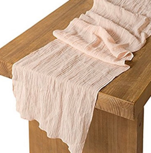 "17"" x 108"" Blush Crinkled Gauze Table Runner"