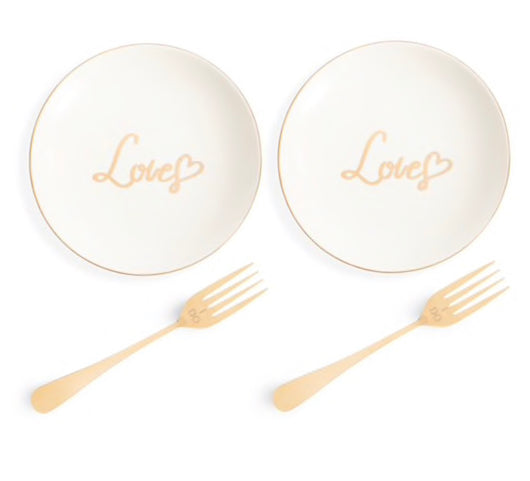 "Gold ""Love"" Cake Plate Set"