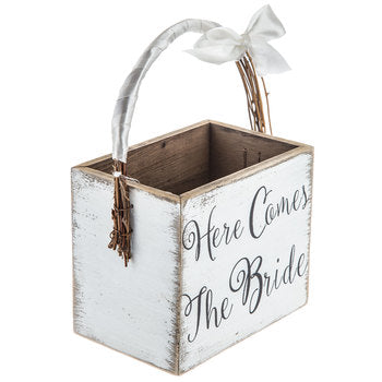 """Here comes the bride"" flower girl basket"
