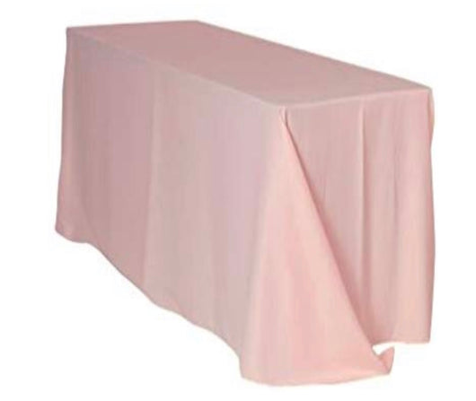 "90""x132"" Blush Poly Table Drape"