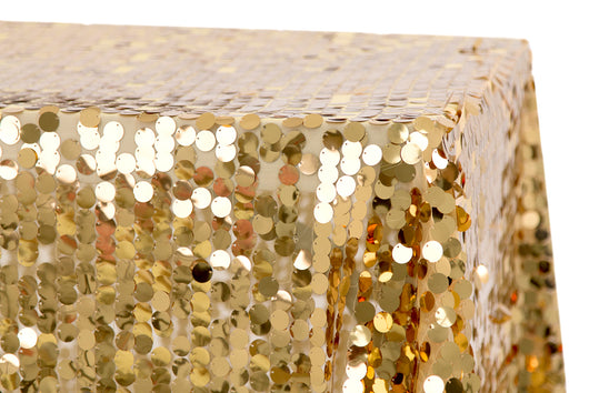 "90"" x 132"" Gold Big Payette Sequin Table Drape"