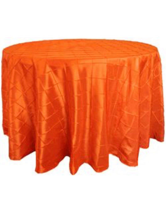 "120"" Orange Pintuck Round Table Drape"