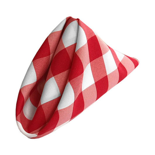Red & White Check Polyester Napkin