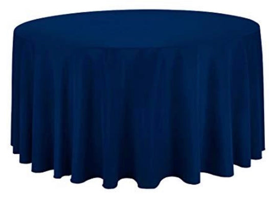 "120"" Navy Polyester Table Drape"