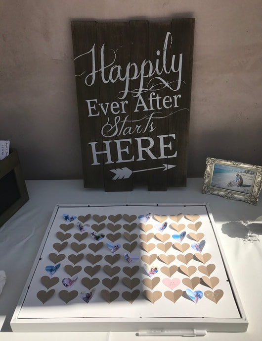 "Rustic Wood ""Happily Ever After Starts Here"" Sign"