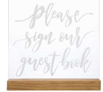 "Wood Acrylic ""Please Sign our guestbook"" Sign"