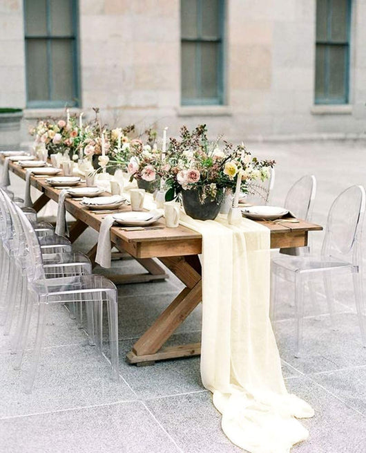Ivory Chiffon Table Runner