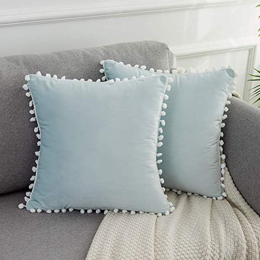 Light Blue Velvet Pom Pom Throw Pillow